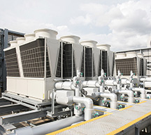 Air-cooled heat pump chillers for the HVAC system. With a unified and redundant design, backup operation is possible in the event of a failure, providing security as well as energy savings.
