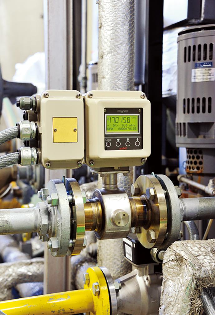動力プラントの貫流ボイラに設置されているスマート電磁流量計 MagneWTM3000FLEX+。