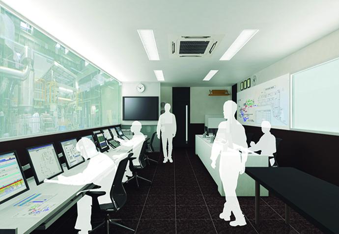 中央操作室のデザインを決めていく打ち合わせの中で使用されたCGのイメージ画像。平面的な図面で見るよりも、より現実に近い計器室が想像できる。