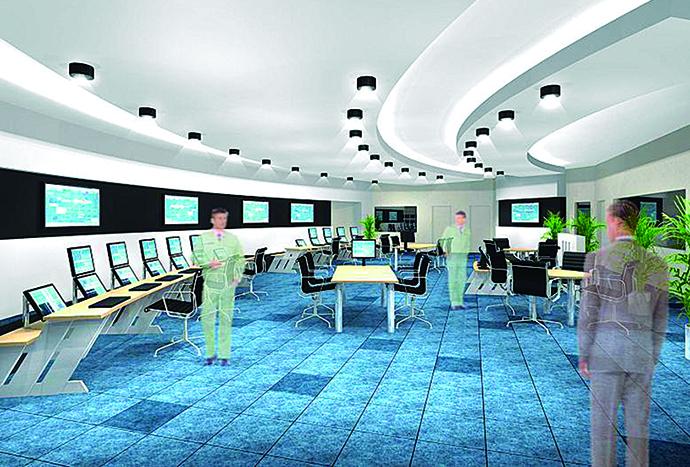 統合計器室のデザインに使用されたCGのイメージ図。作業者の動線や情報配置などが分かりやすく示されている。