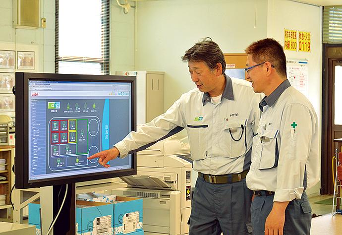 ENEOPTtopviewによるダッシュボード。工場全体を広く見渡すことのできる画面には、敷地内の各現場の使用電力量が一目で分かるようになっている。各現場を選択することでENEOPTpersやEneSCOPEの画面へと移行し、エネルギー使用状況を詳細に確認することができる。