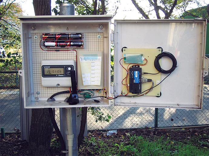 顧客側の機器設置例。取引用のパルス発信機能付きメーターの近くに伝送端末を設置。流量の計測を通信機能付きデマンド計が行い、伝送端末機から本社のセンターシステムへデータを送信する。