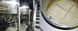 完成した麹と水を発酵タンクに入れ、発酵させて日本酒を造る。