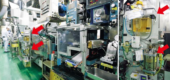 部品研削のための工作機械内に組み込まれたアズビルTACO製ミクロンルブ潤滑ユニット(上)とルブリケータ(下)。ミクロンルブ潤滑ユニットは滴下状況をモニタリングするセンサを搭載している