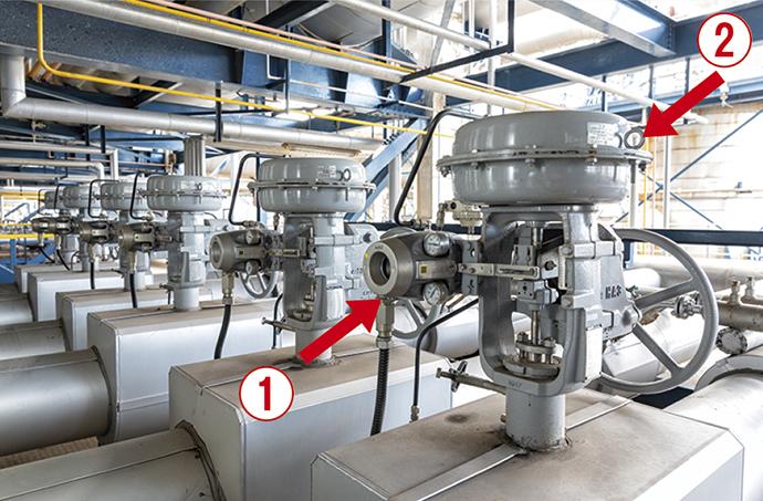 スマート・バルブ・ポジショナ 700シリーズ(①)を搭載したプレッシャバランス形ケージ調節弁(②)。石油化学製品の原料と併せて投入される蒸気の流量を制御している。