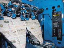 午後1時すぎより夕刊の印刷がスタート