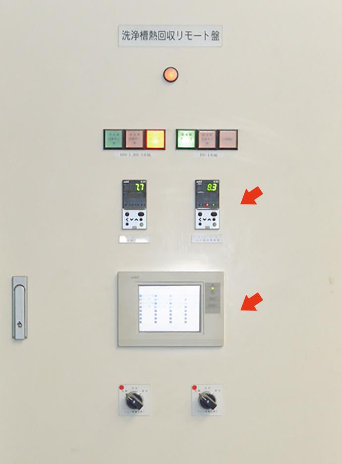 被膜設備の洗浄槽熱回収リモート盤。中央部の操作パネル SmartScreenで、熱回収にかかわる機器の運転状況などを監視・記録している。上部のデジタル指示調節計 形R35ではドレン水のpH濃度を計測している。