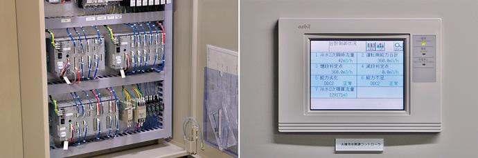 ポンプの台数制御を行う熱源管理用デジタルコントローラ PARAMATRIX™4と表示パネル。