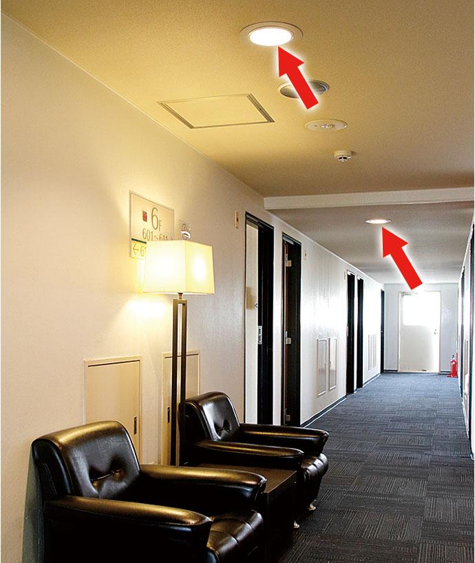廊下など共用部の照明はすべてLEDに置き換えられている。
