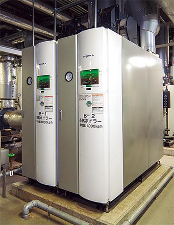 蒸気ボイラも重油焚(だ)き、ガス焚きの2種類が導入されている。(写真はガス焚き)