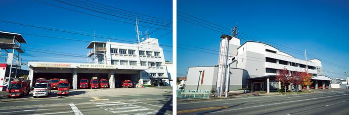 消防局倉敷消防署合同庁舎(左)と児島消防署(右)。月に1度の巡回点検と遠隔監視を行っている。