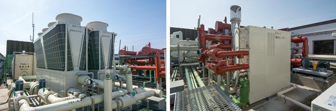 佐倉市立美術館の屋上に設置された空冷ヒートポンプチラー(左)と温水ヒーター(右)。今回のESCO事業により、高効率機器へと置き換えられた。