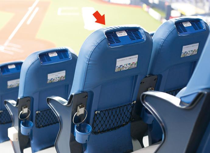 座席の段床部から前席の背もたれに沿ってダクトを設置し、個々の座席用の吹出し口を設ける座席空調システム。