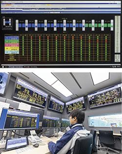 中央監視室に設置されたsavic-net FX2 セキュリティのモニタ画面と建物設備管理を行っている建物管理システム savic-net FX2。