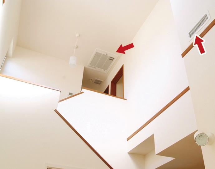 玄関ホールの吹抜け。右手前に吹出し口があり、外気が入り込む玄関を空調している。階段を上った2階の天井には空気清浄機が設置されており、空気が効率よく流れるように設計されている。