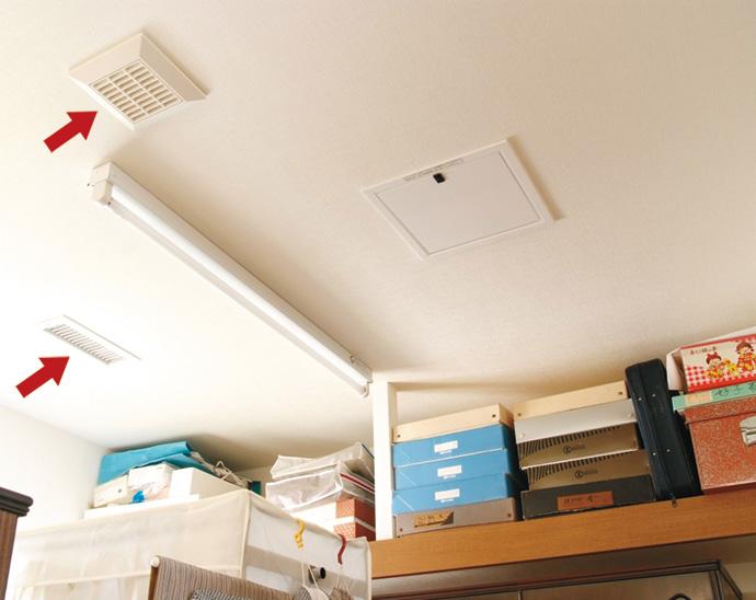 納戸にも吹出し口や換気吸込み口が設置され、デリケートな着物などの保管も安心。