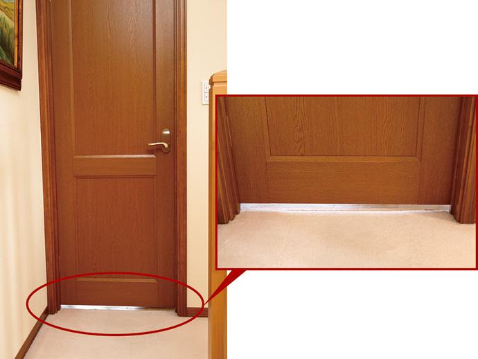 居室ドアのアンダーカット部分。家中に空気が回るように気流設計をすることで、温風、冷風が部屋の隅々にまで行き渡り、排気・空気清浄もムラなく行える。