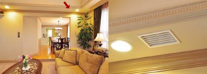 リビングやキッチンなどは遮るものがなく開放感あふれる間取り。広い空間であっても効率的に空調できるように計算された場所に温風・冷風の吹出口があるので、快適に過ごすことができる。意匠面にもこだわり、飾り二重天井を利用してダクトが通されている。
