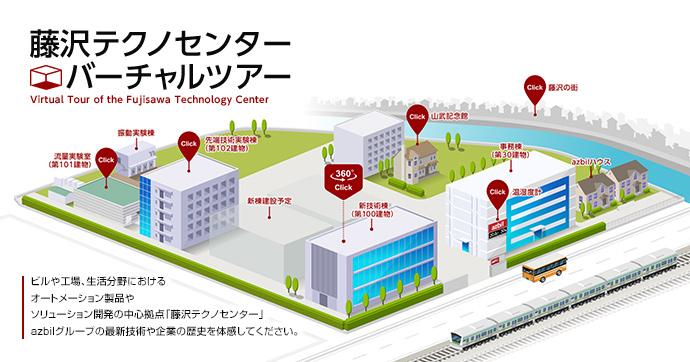 azbilグループの取組みや製品を⾒学できる場として誕⽣した「藤沢テクノセンターバーチャルツアー」。ページTOP画⾯。