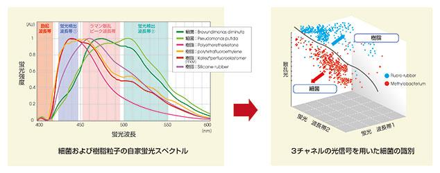 微生物および樹脂粒子の蛍光スペクトルの違い(左)と、3チャネルの光信号から微生物を識別するマップの概念図(右)