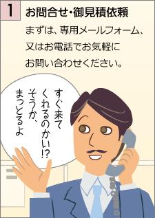 お問合せ・御見積依頼…まずは、専用メールフォーム、又はお電話でお気軽にお問い合わせください。「すぐ来てくれるのかい!?そうか、まっとるよ」