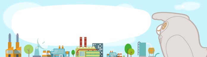 いろいろな工場を見渡すエネマネふくろうのイラスト